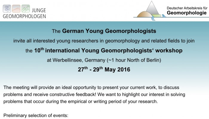 10th international Young Geomoprhologists' Workshop