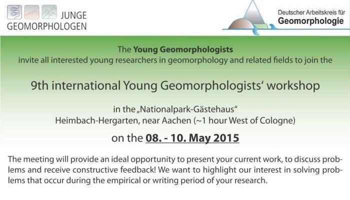 9th international Young Geomorphologists' Workshop