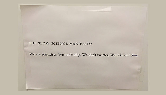 Slow science in times of COVID