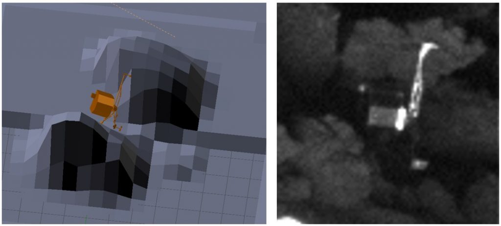 Comparison of the numerical models of the attitude of the lander (left) and the actual position of Philae as seen from Rosetta. Credit: A. Lethuillier and ESA/Rosetta/MPS for OSIRIS Team MPS/UPD/LAM/IAA/SSO/INTA/UPM/DASP/IDA