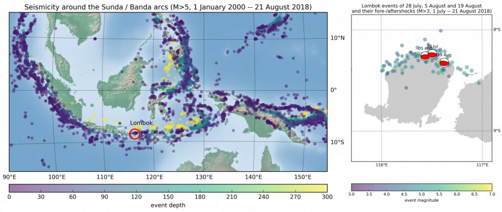 Seismicity in the Sunda/Banda arcs region, and the recent earthquakes around Lombok