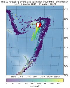 19 August 2018 earthquake near Fiji and background seismicity in the Tonga trench region