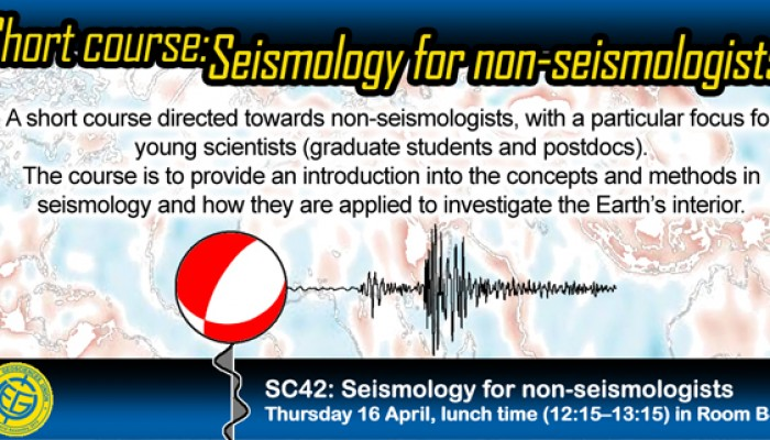 The flyer promoting the EGU short course: Seismology for non-seismologists.