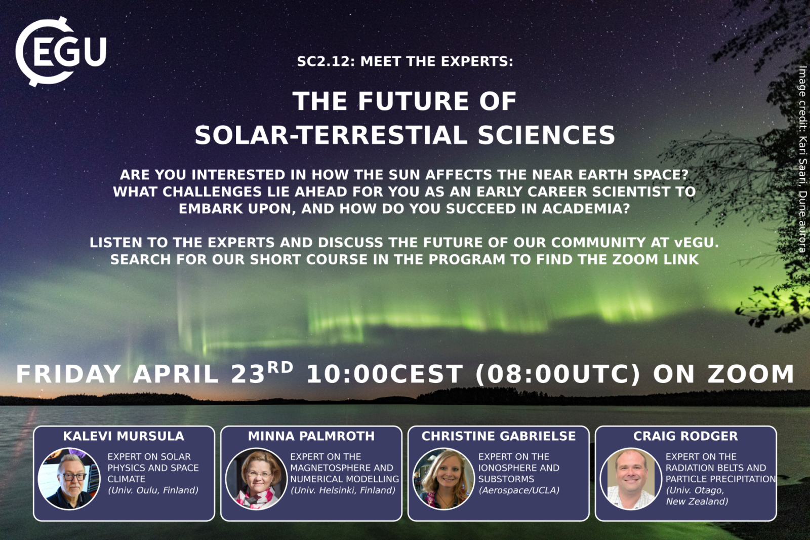An infographic giving details of the Meet the Experts session for the Solar Terrestiral division of #vEGU_21