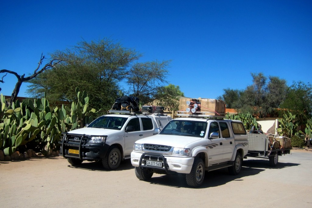 All ready for action! The two trucks all loaded up with equipment for setting up five complete sites, pictured here outside Solitaire, Namibia. (Credit: A. Dansie)