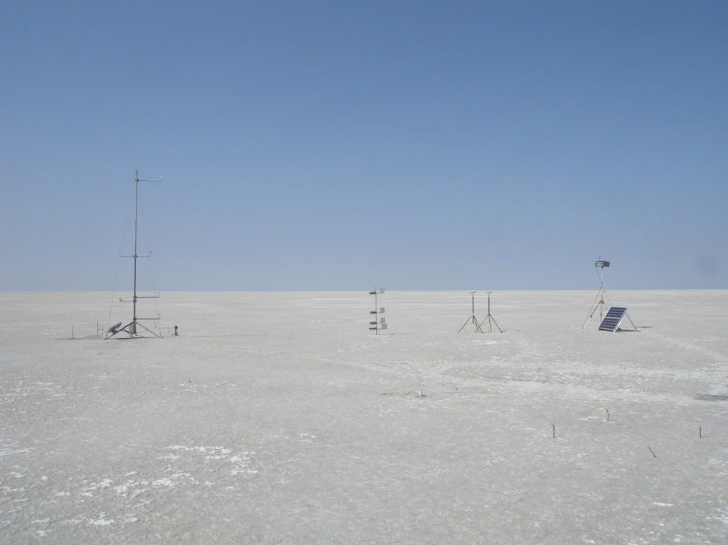 Typical setup of DO4 Models dust specific automatic weather stations shown here installed on Makgadikgadi Pans, Botswana in 2011. (Credit: F. Eckardt)