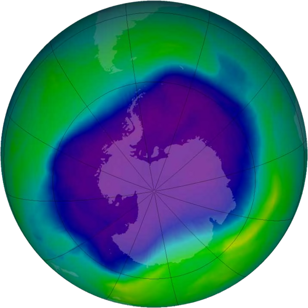 Ozone hole over Antarctica in September 2006, the largest ever recorded. Even though the atmospheric concentrations of CFCs and HCFCs have been decreasing since around 1995 – being replaced by HFCs – their effects are still being felt given the relatively long lifetimes of these ozone-depleting substances. The ozone layer will eventually recover, but the increasing concentrations of HFCs in the atmosphere could exacerbate global warming. (Credit: NASA)