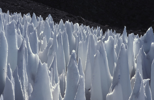 A field of penitents in the Andes. Credit: Wikimedia Commons user Arvaki)