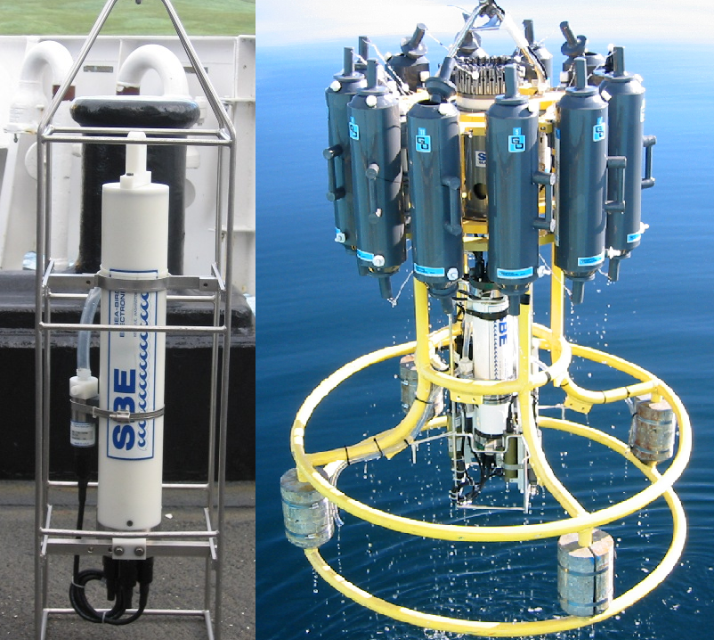 This is a CTD (left). Often deployed off research ships with a large bundle of sampling bottles known as a rosette (right), CTDs record the conductivity (and hence, salinity), temperature and depth of water in the ocean, allowing physical oceanographers to get a good look at it's structure and work out which water masses are moving where. (Both the CTD and rosette images are credited to NOAA)