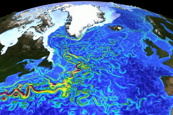 """Surface currents in the North Atlantic"" by Erik Behrens. The red colours indicate speeds of about 1.5 m/s, yellow around 0.7 m/s and green 0.3 m/s. Lower speeds become transparent, and you only see the ocean floor below (dark blue). The image is intended for the public and is distributed by the EGU under a Creative Commons licence."