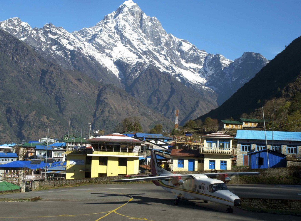"""Our plane landed safely at the Lukla airport, one of the 10 airports in the world that """"flirt with disaster"""". (Credit: Jane Qiu)"""