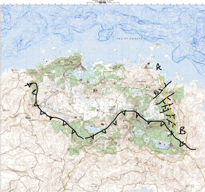 A topographic base map of Skyrim with my annotations of a compressional fault (line with triangles on it, compressing approximately north-south) and extensional faults (lines with little lines on them). The yellow line A-B is showing the location of a cross section cartoon (below). (Map modified from one produced by Tim Cook)