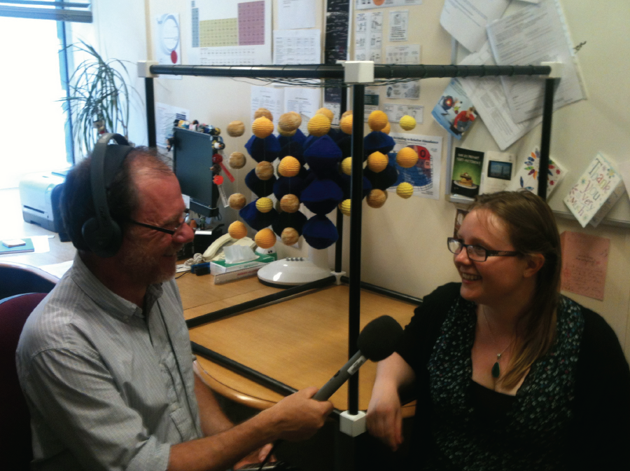 "Simon interviewing Dr Julia Percival about a project to knit perovskite. Find out more about the ""Perovskite Project"" on An Atom's-Eye View of the Planet."