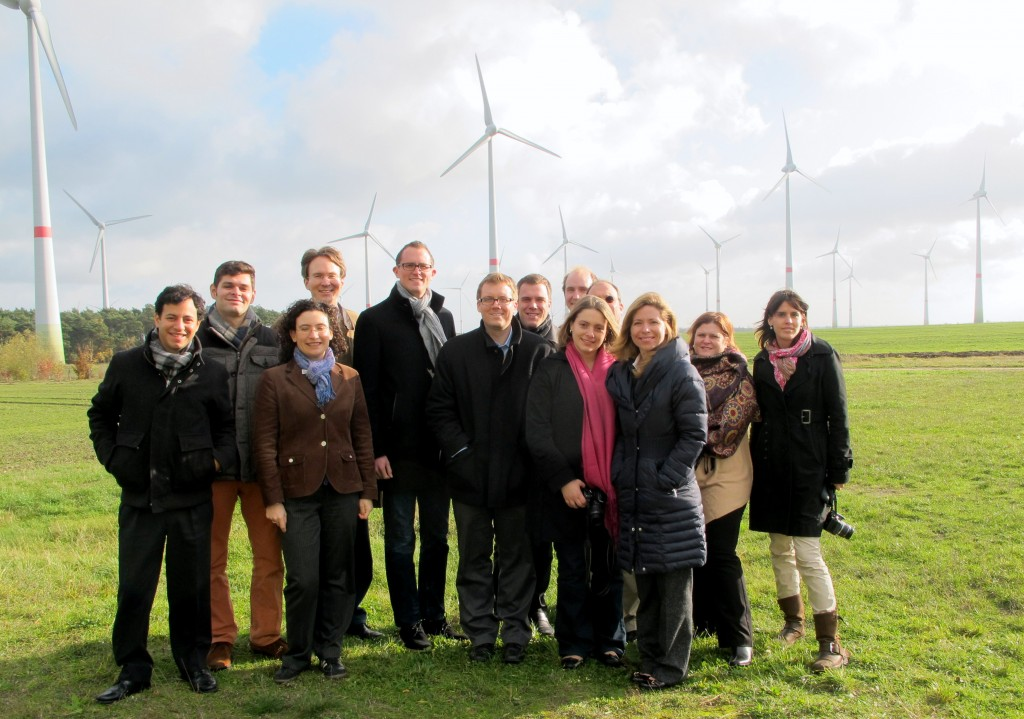 : ELEEP members visit Feldheim's extensive wind farm, a major component in the community's energy self-sufficient existence. (Credit: Edvard Glücksman)
