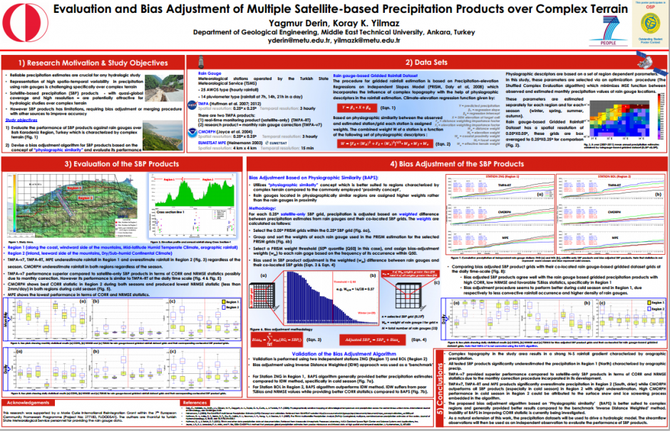 "The award-winning poster presented at EGU 2013: ""Evaluation and Bias Adjustment of Multiple Satellite-based Precipitation Products over Complex Terrain"" (see the credited link for a larger image). (Credit: Yagmur Derin and Koray K. Yilmaz, 2013)"