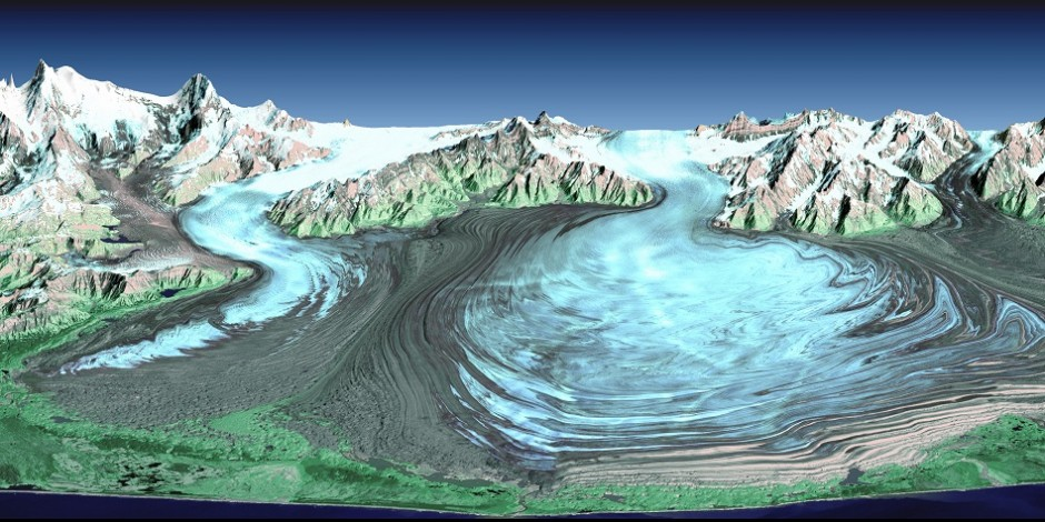 Malaspina Glacier is created by the junction of several powerful glaciers from the North including Agassiz Glacier (left) and Seward Glacier (right). (Credit: SRTM Team NASA/JPL/NIMA)