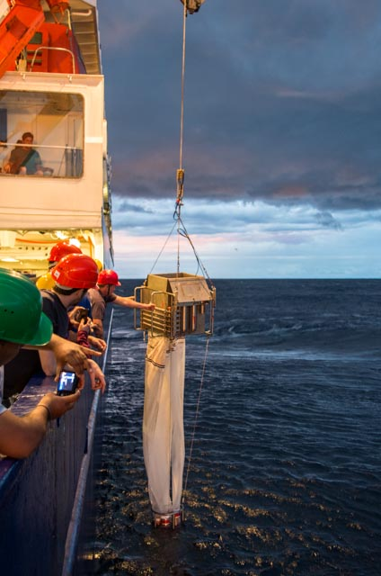 The multi net is lowered to a desired depth. On its way back to the surface it recovers plankton samples from varying intervals of the water column. (Credit: Jens Weiser)