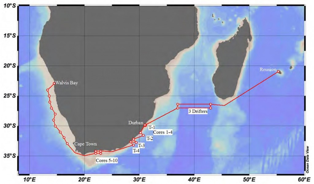 Planned cruise track and working areas of Meteor cruise M102