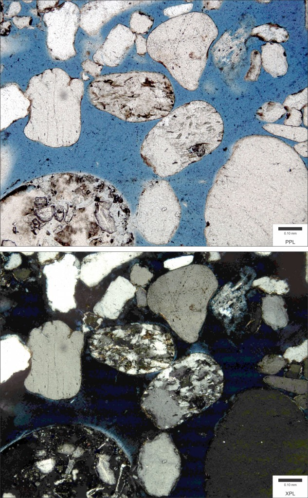 A sandstone sample viewed in plane polarized light (top) and cross polarised light (bottom). (Credit: Wikimedia Commons user Michael C. Rygel)