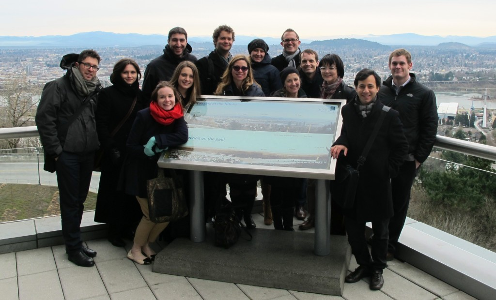 ELEEP members on the Oregon Health & Science University (OHSU) campus looking out over the city of Portland, having just experienced the city's aerial tramway. (Credit: Edvard Glücksman)
