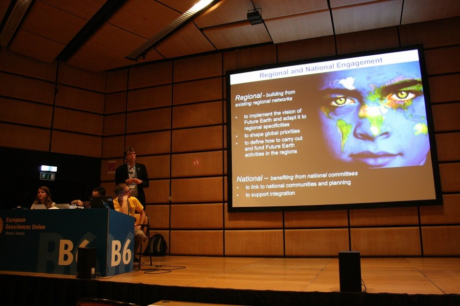 Future Earth presentation at EGU 2013. (Credit: Sue Voice)