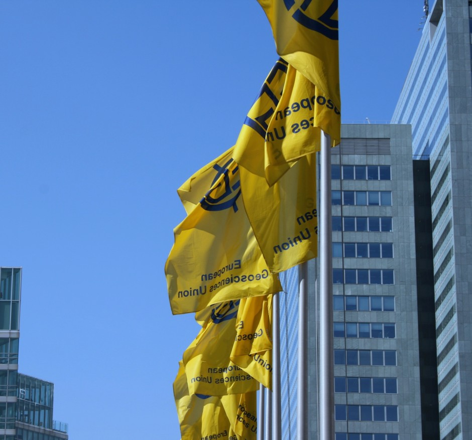 EGU flags outside the conference centre. (Credit: Sue Voice)