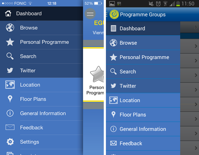 The main menu on the iPhone (left) and Android (right) app.