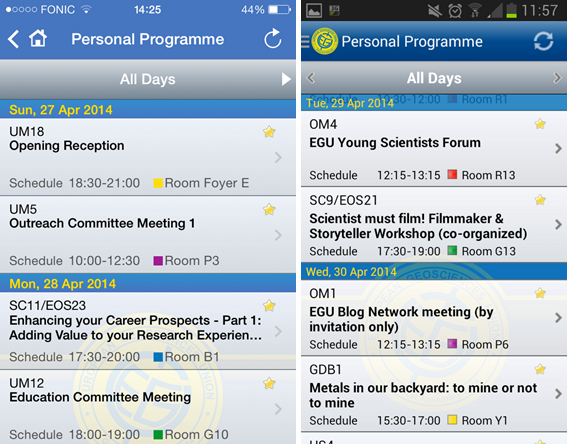 Create your own personal programme using the iPhone (left) and Android (right) app.