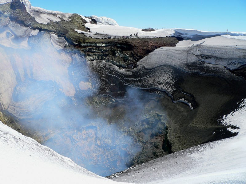 Peering into the crater of Villarrica Volcano, Chile. (Credit: Dávid Karátson via imaggeo.egu.eu)
