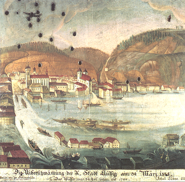 A painting from 1846 commemorating the tragic Elbe flood of March 1845 in Ústí nad Labem, NW Bohemia. The peak discharge of this flood was not matched even by the disastrous August 2002 event. (Credit: Museum of the City of Ústí nad Labem, Oil on wood, painted shooting target, catalogue no. U 334)