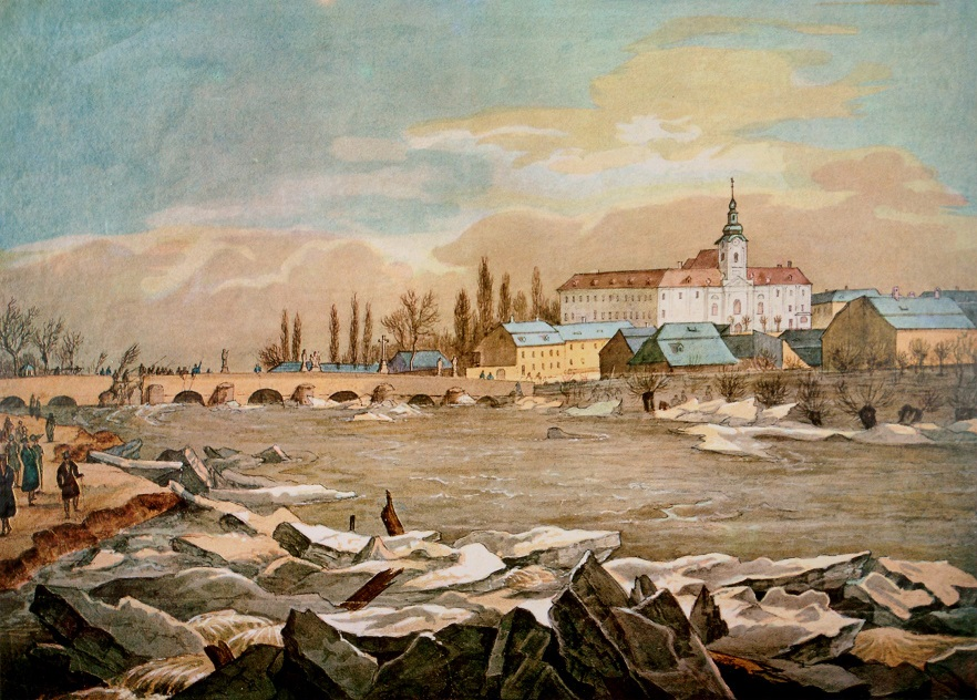 The Long Bridge across the River Svratka in Brno where ice floes accumulated during the flood of March 1830 after the extremely severe winter of 1829-1830. (Reproduction of a colour drawing by Frantisek Richter, Brno City Archives, Collection of graphics, prints and reprints, no. 255R)
