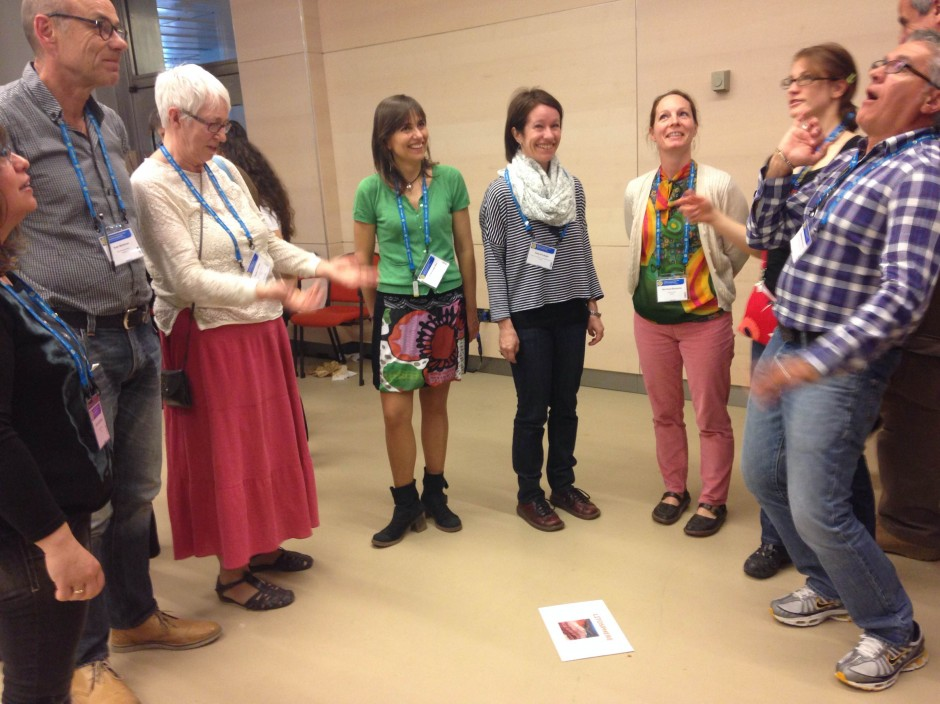 The teachers at EGU 2014 playing the carbon cycle game. (Credit: Jane Robb)