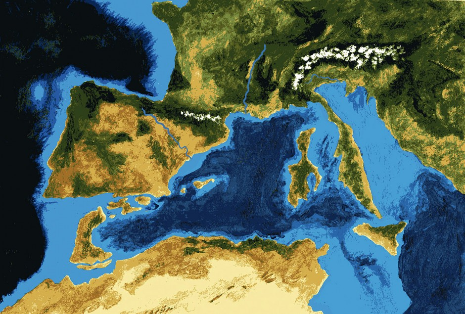 An artist's impression of the Messinian Salinity Crisis. (Credit: Wikimedia Commons user Paubahi)