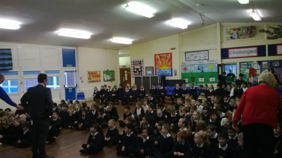 School assemblies are a great opportunity to engage with a large number of students. (Credit: Sam Illingworth)