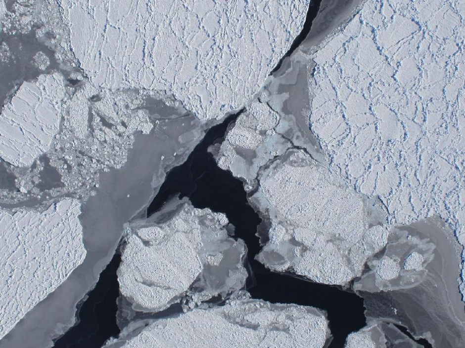 Spying on sea ice from some 20,000 feet above the surface. (Credit: NASA)