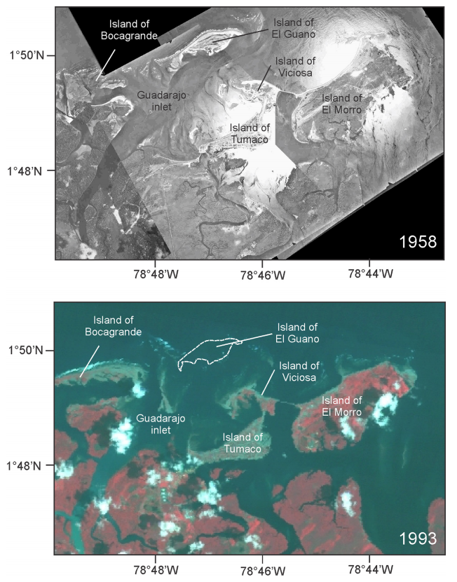 Spot the difference. Top: the island of El Guano prior to the 1979 tsunami; bottom: the same area following the tsunami. (Credit: Otero et al. 2014)