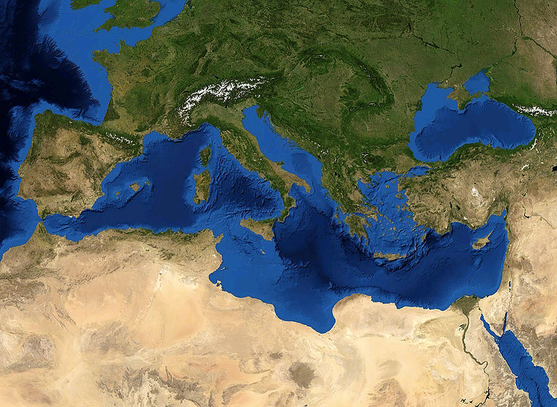 The Mediterranean Sea today. (Credit: NASA/Eric Gaba)