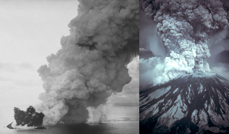 Surtsey's arrival in 1963 (left, credit: NOAA) and Mount St Helens during the 1980 eruption (right, credit: Austin Post/USGS)