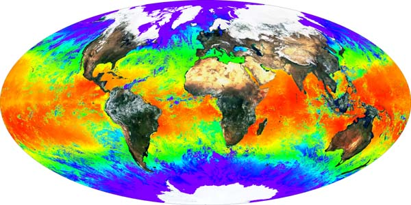 Global Surface Reflectance and Sea Surface Temperature (Credit: MODIS Instrument Team, NASA Goddard Space Flight Cente).