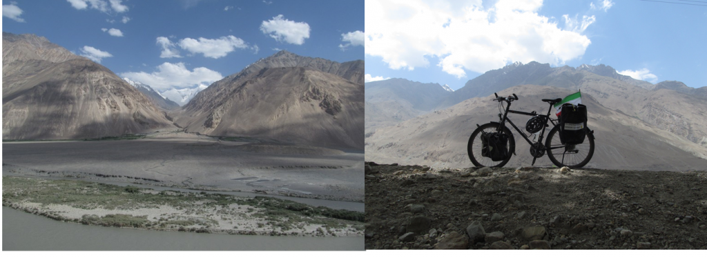 """Image on left (alluvial fan and Hindu Kush) was taken somewhere along the Wakhan Corridor (Credit: Solmaz Mohadjer, via imaggeo.egu.eu). The image on the right  was taken in a villages called """"Yakhshwol"""" in the Wakhan Corridor (Credit: Solmaz Mohadjer)."""