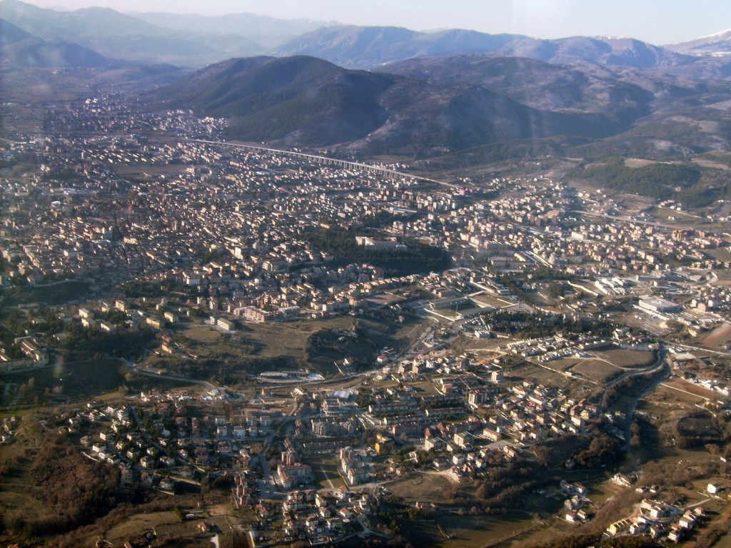 Aerial view of the city of L'Aquila east-centre (Photo Credit: Public Domain, via Wikipedia.org)