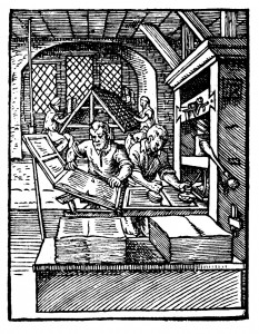 This early wooden printing press could spit out 240 impressions per hour (Photo Credit: Jost Amman [Public domain], via Wikimedia Commons)