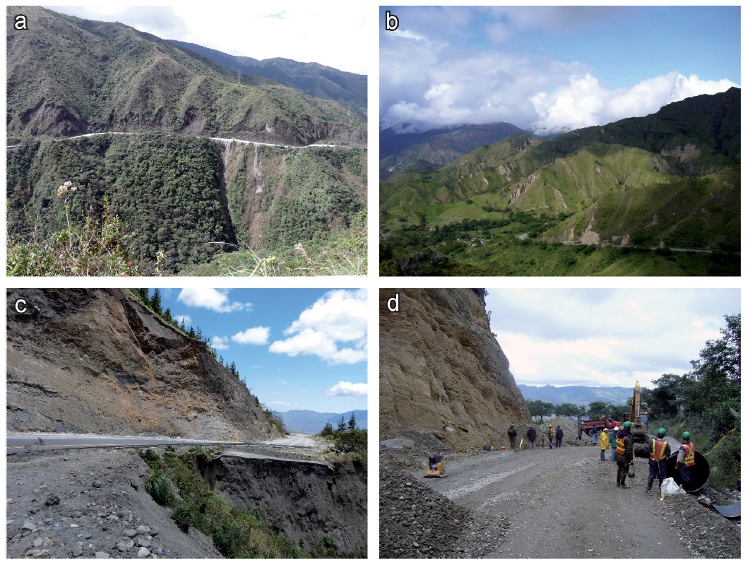 Landslides occurring along the investigated highways. (a) Typical landslides of the wet metamorphic part of the study area in the east. (b) Typical landslides of the semi-arid, conglomeratic part of the study area in the west. (c) Highway destroyed by landsliding. (d) A highway is cleared from a recent landslide occurrence. From Brenning et al., (2015).