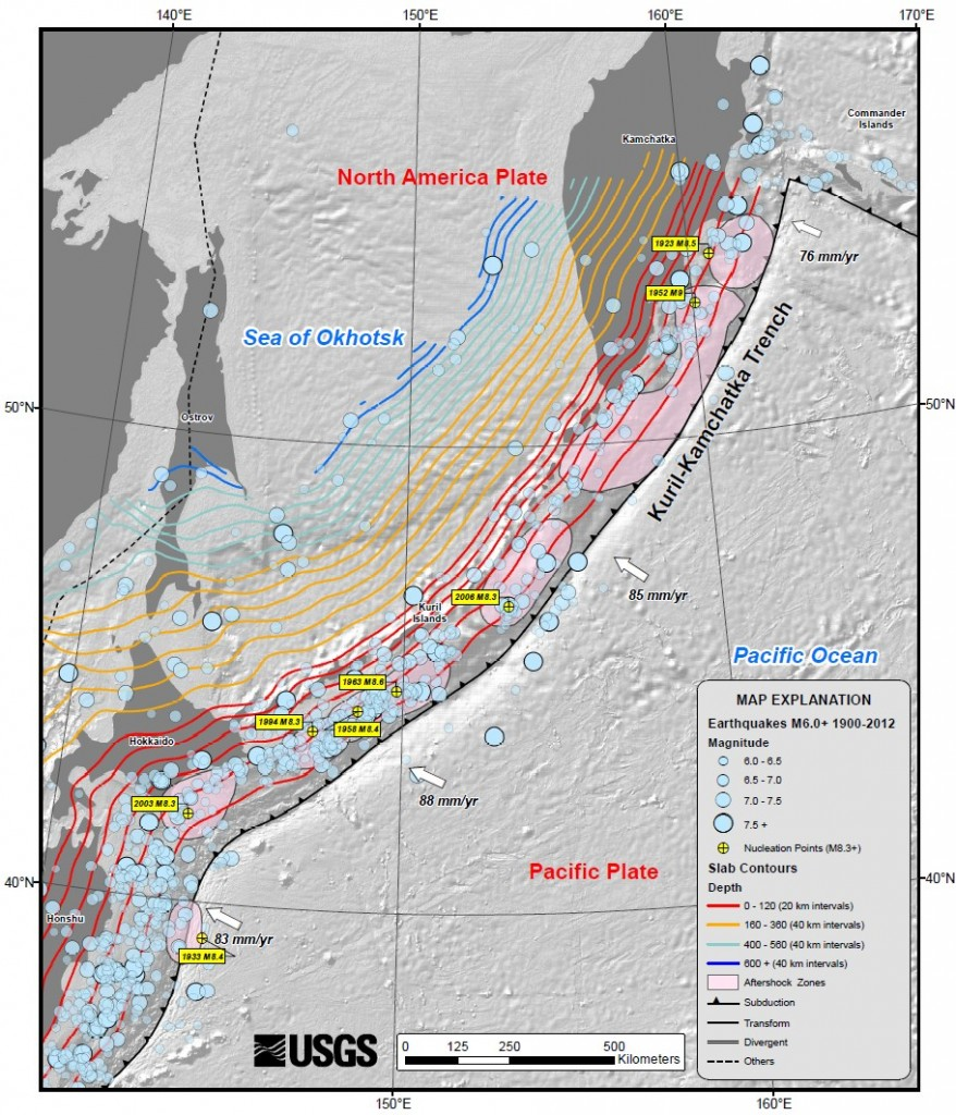 USGS map of the Kuril-Kamchatka trench, showing earthquake locations and depth contours on downgoing slab. Credit: USGS, USGS summary of the 2013 Sea of Okhotsk earthquake, via Wikimedia Commons.