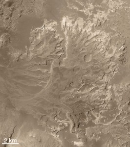 Eberswalde Delta on Mars, evidence for an ancient persistent flow of water over an extended period of time on the Martian surface. Image Credit: NASA/JPL/MSSS.