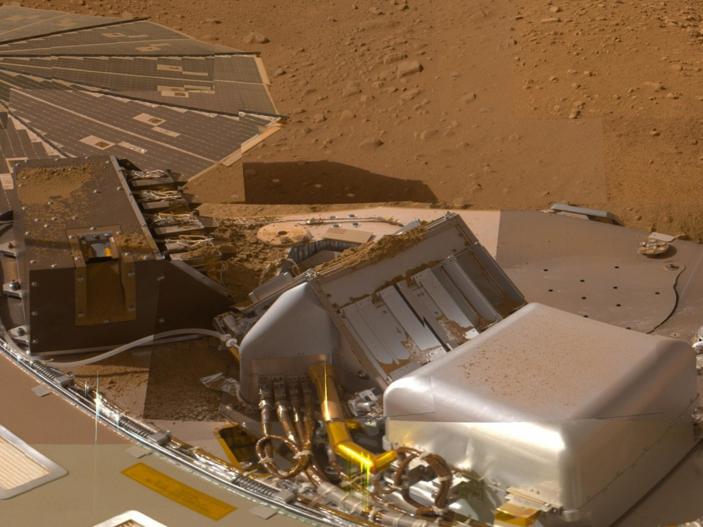 The Phoenix Lander made the first detection of perchlorate on Mars in 2008. Dusty Martian soil can be seen in the background and on the Lander's frame. Image Credit: NASA/JPL-Caltech/University of Arizona/Texas A&M University.