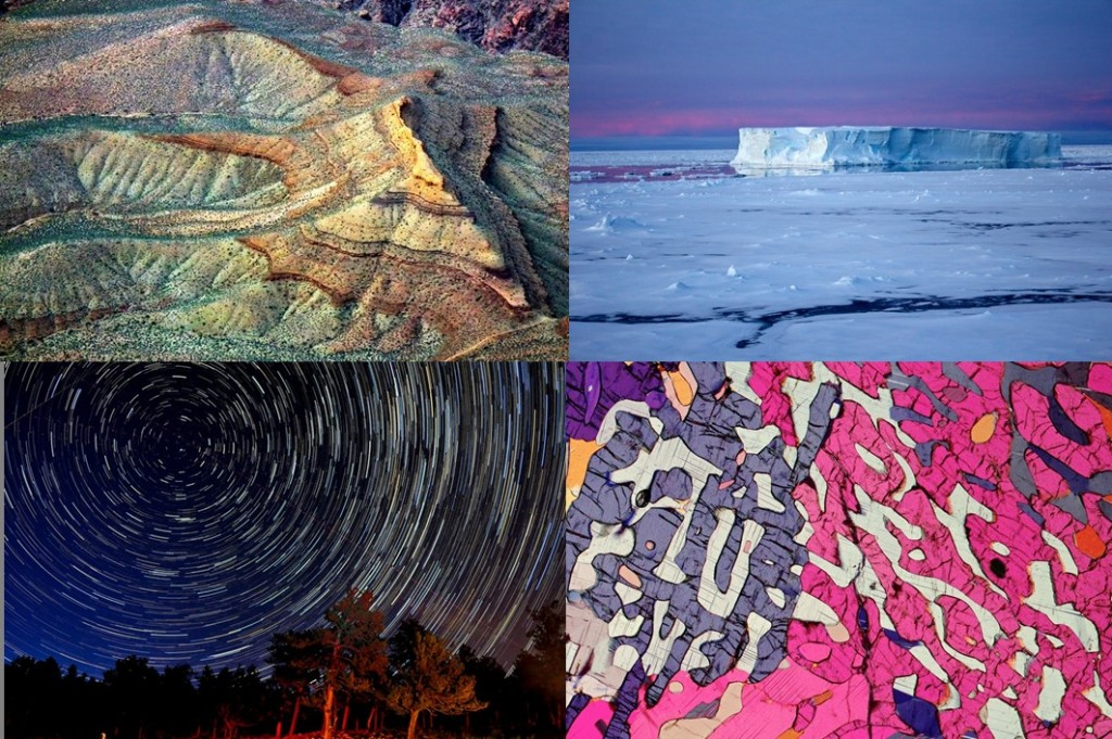 From top left to bottom right, Erosion Spider by John Clemens, Icebergs at Night in the Antarctic by Eva Nowatzki, Star Trails in Rocky Mountain National Park by Martin Snow, MicROCKScopica – Symplectite in Granulite by Bernardo Cesare (distributed via imaggeo.egu.eu).