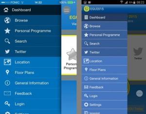 The mobile app main menu.
