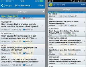 Browsing Short Courses on the iPhone (left) and Android (right) app.