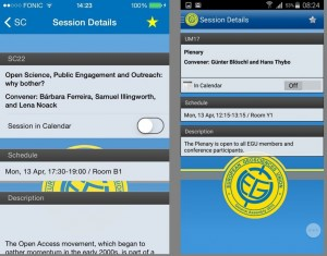 Session details listed in the iPhone and Android app.
